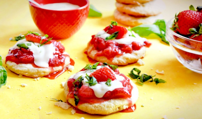 Strawberry Basil Shortcakes with Cashew Whipped Cream