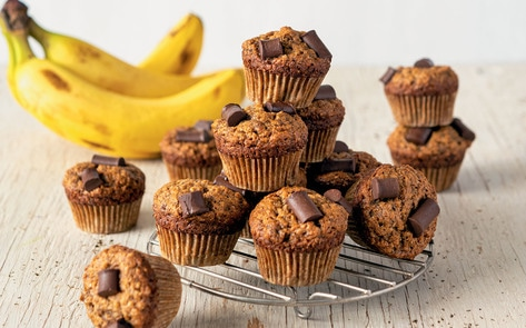 Mini Vegan Banana Chocolate Chip Muffins