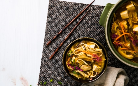 Vegan Hot-and-Sour Shiitake Udon Soup