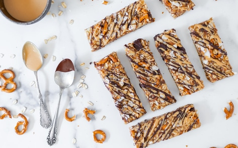 Vegan Chocolate Peanut Butter Granola Bars with Pretzels & Coconut