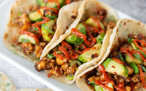 Crispy Hoisin Tofu Vegan Tacos with Scallion Tortillas