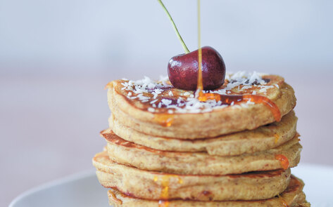 Vegan Cherry Coconut Pancakes