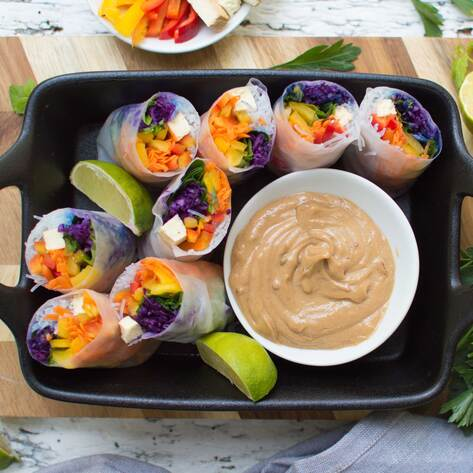 Vegan Rainbow Spring Rolls with Peanut Dipping Sauce