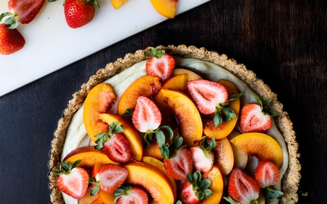 Vegan Summer Fruit Tart with Vanilla Custard and Pecan-Oat Crust