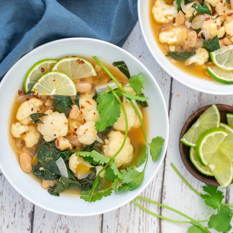 Vegan Cauliflower Lime & White Bean Soup