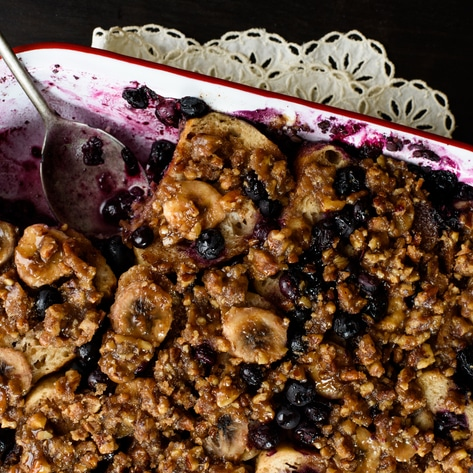 Vegan Blueberry-Banana and Praline French Toast Casserole