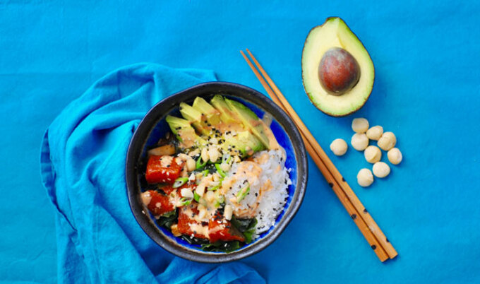 Watermelon Poke with Spicy Sesame Soy Dressing