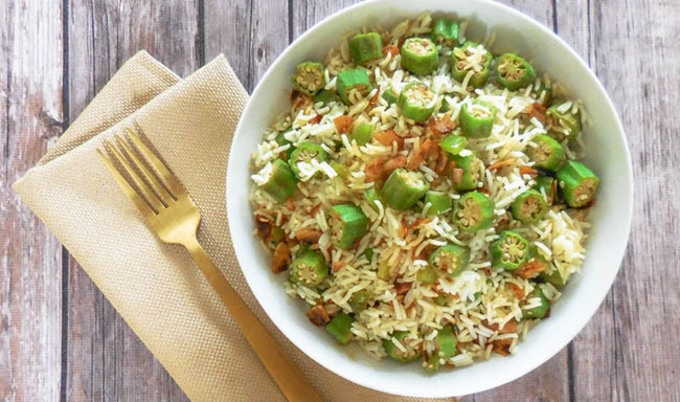 Okra Pilaf with Coconut Bacon