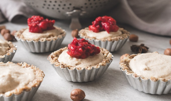 Vanilla Tarts with Cranberry Compote