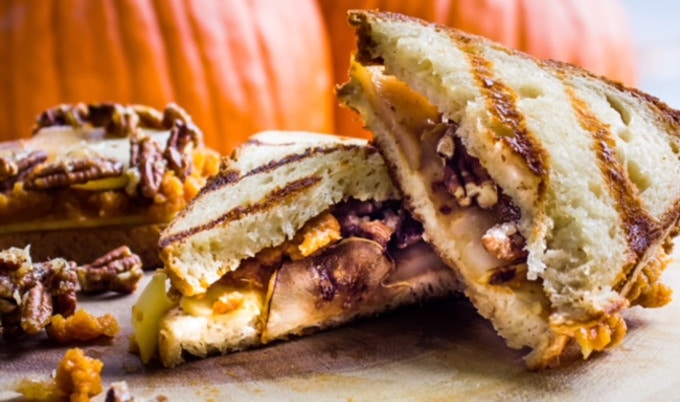 Pumpkin, Pear, and Candied Pecan Grilled Cheese