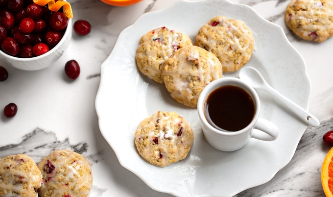 Soft-Baked Citrus Cranberry Cookies with Lemon Drizzle