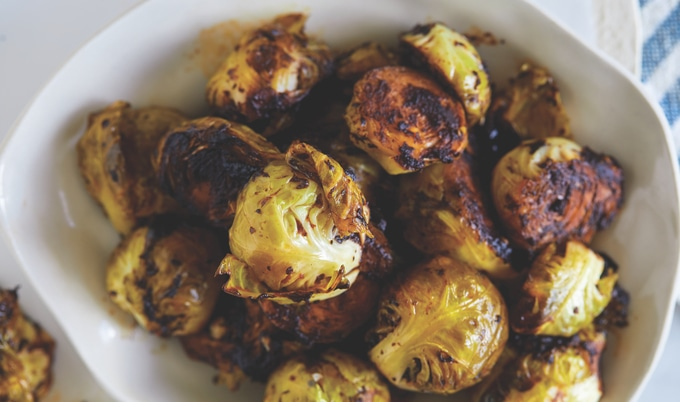 Charred Brussels Sprouts with Black Garlic