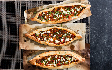Vegan Turkish Flatbread with Eggplant & Tomatoes