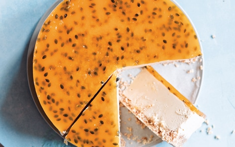 Vegan White Chocolate & Passionfruit Cheesecake