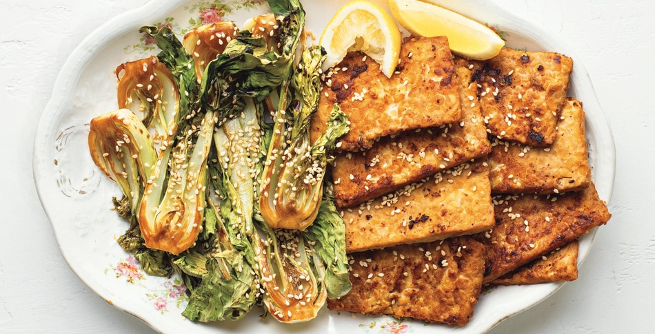 Miso-Mustard Tempeh with Roasted Baby Bok Choy