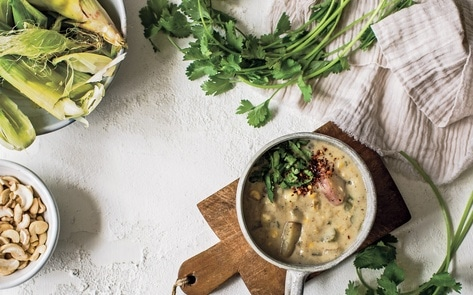 Low-Waste Vegan Corn Chowder