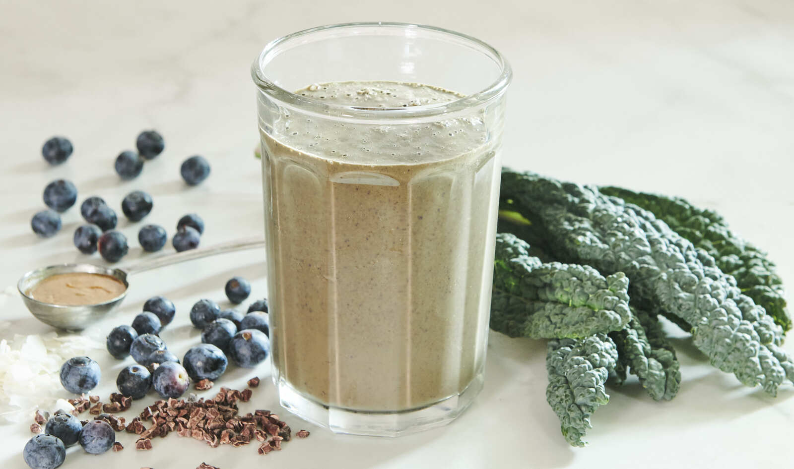 Vegan Chocolate Açaí Coconut Smoothie With Kale and Blueberries