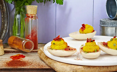 Vegan Bacon Ranch Deviled Eggs