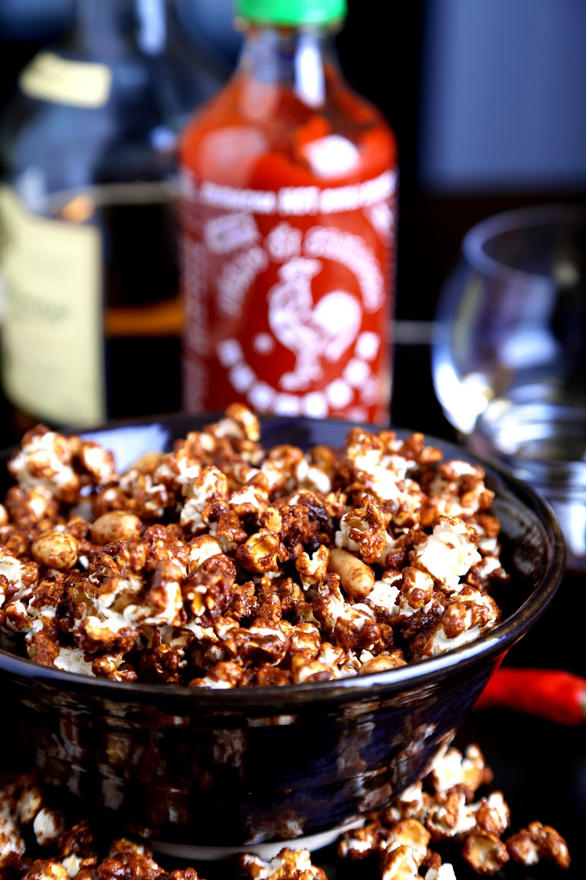 Whiskey Sriracha Caramel Corn