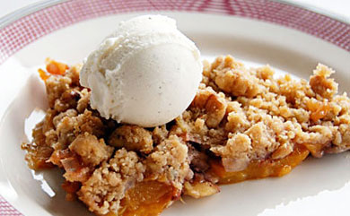 Peach Crisp using Canned peaches...