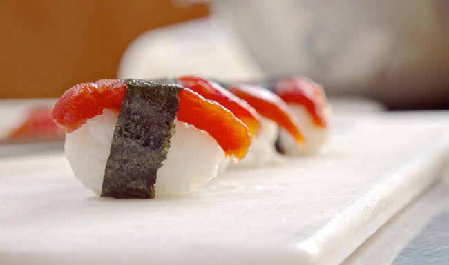Vegan tomato sushi launches in new york city for Where to buy sushi grade fish nyc